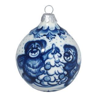 Christmas toy Ball story, Gzhel Porcelain factory
