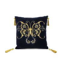 Cushion divan 'swallowtail' in dark blue with gold embroidery