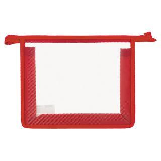 Folder for notebooks A5 PYTHAGORAS, plastic, zipper top, transparent, red