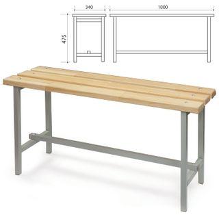 Locker room bench, 1000 x340 x475 mm, metal grey frame, tree seat