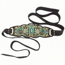 Belt women's 'malachite tale' black with gold embroidery