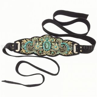 "Belt women's ""malachite tale"" black with gold embroidery"