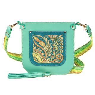 Leather handbag Argo green with gold embroidery