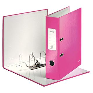 Folder-Registrar LEITZ 'WOW', the mechanism 180°, laminated, 80 mm, pink