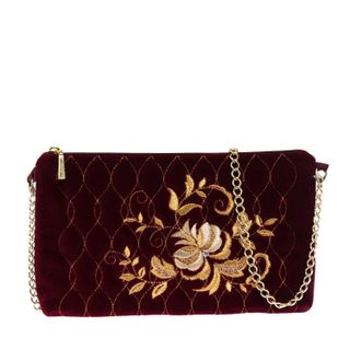 "Velvet clutch ""Rosalia"" Burgundy with gold embroidery"