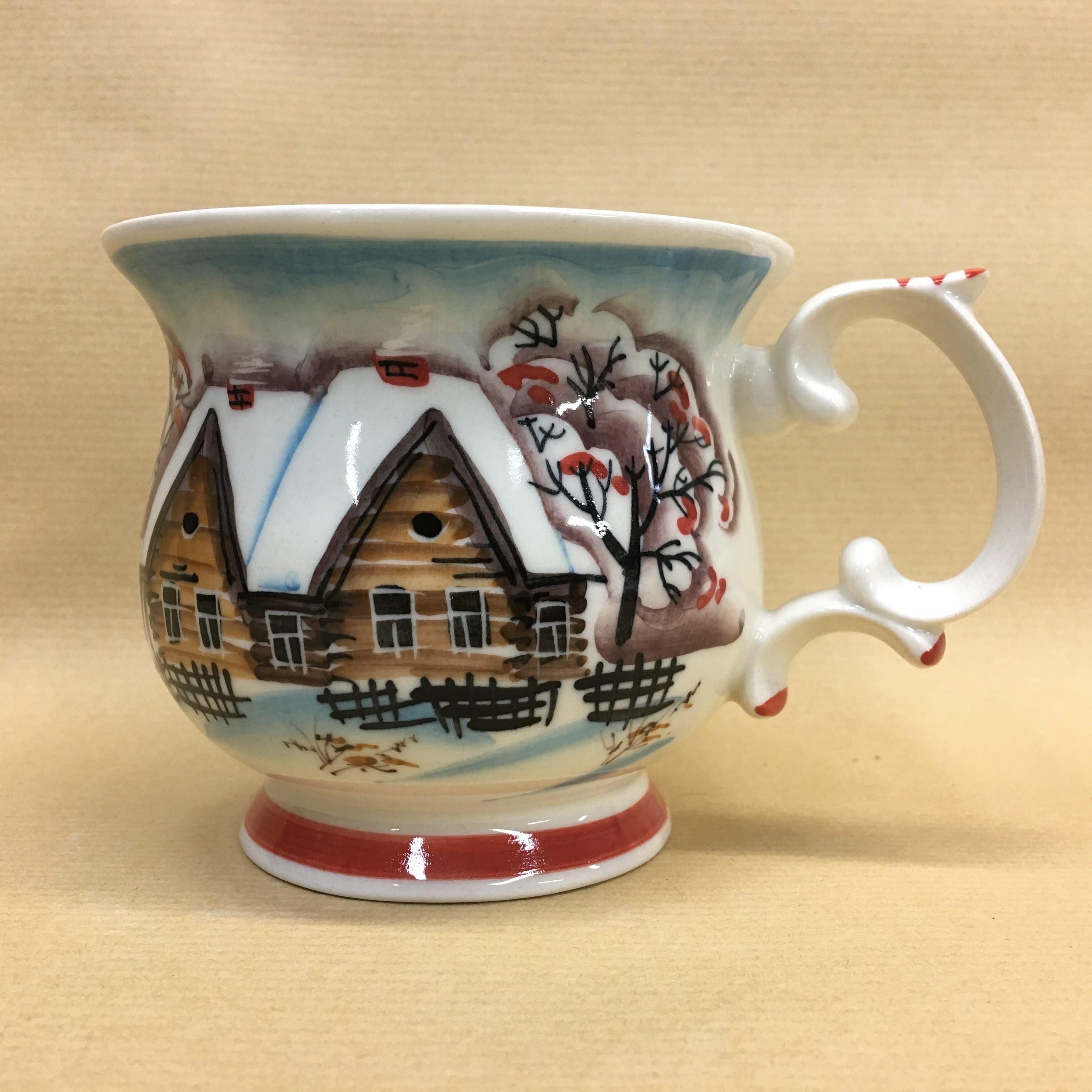 "Cheerful porcelain / Porcelain cup ""Winter Village"", author Ogorodnikova O."