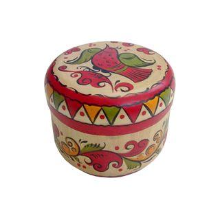 "The box is wooden ""Boretskaya painting"" round 6 cm"