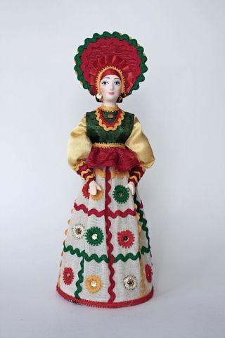 Doll gift porcelain. Boyar. The motifs painted Dymkovo toys. Russia.