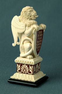 WINGED LION interior sculpture of mammoth tusk