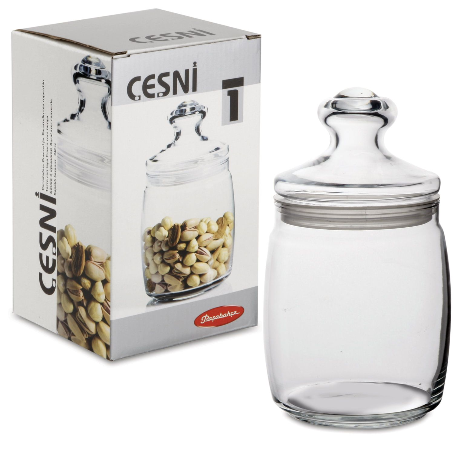 "PASABAHCE / Jar with lid ""Cesni"" for bulk products, glass, 940 ml, 1 pc."