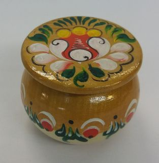"""Salt shaker wooden """"Onega painting"""" the height is 4 cm"""