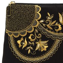 Cosmetic bag 'Lace' in black with gold embroidery