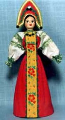 Doll gift porcelain. Kostroma lips. Russia. Girl in holiday outfit.