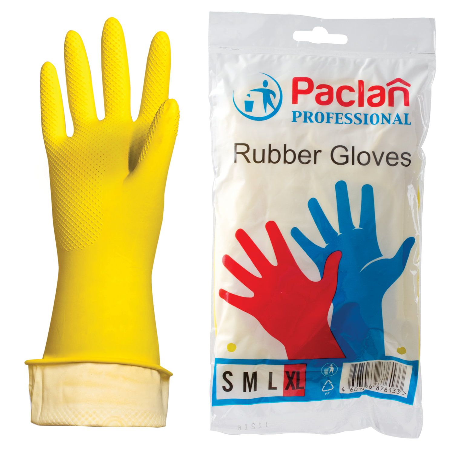 "PACLAN / Latex household gloves ""Professional"", cotton-coated, size XL (extra large), yellow"