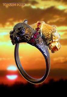 Tigers 0148 - a ring made of silver 925 coated with black rhodium and gilding