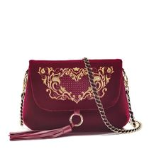 Velvet bag 'Victoria' Burgundy color with Golden embroidery