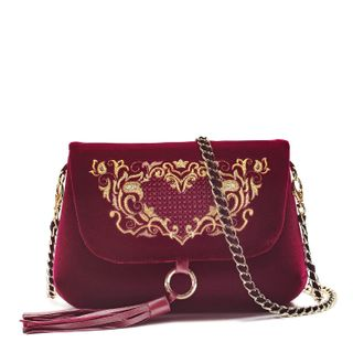 "Velvet bag ""Victoria"" Burgundy color with Golden embroidery"