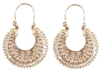 Touchstone Indian Bollywood Desire Tribal Boho Chic Moon Chandbaali Theme Designer Earrings In Silver Oxidiesed Tone For Women.