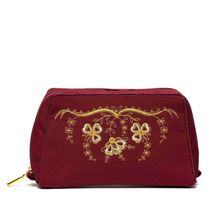 Cosmetic bag 'Spring' red with gold embroidery