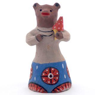Kargopol clay toy bear with mushroom