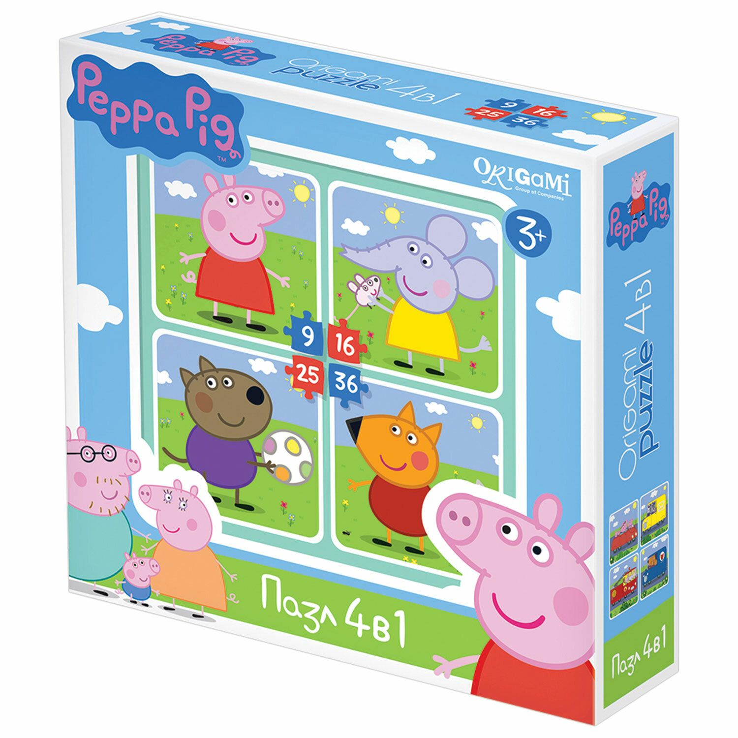 """Puzzle Peppa Pig """"walking"""", """"4 in 1"""", 9-16-25-36 elements, ORIGAMI"""