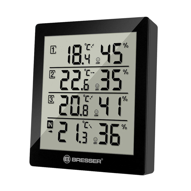 BRESSER weather station Temeo Hygro Quadro, 3 temperature sensor, hygrometer, black