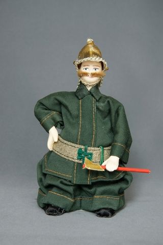 Doll gift porcelain. Firefighter professional clothes. 20th century. Russia