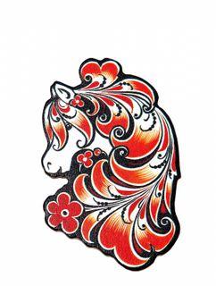 """Khokhloma painting / Wooden magnet """"Horse"""""""