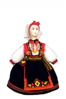 Norwegian women's costume. (a smaller version of model No. 1321). Doll gift