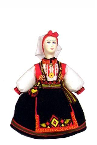 Norwegian women's costume. (a smaller version of model No. 1321). Doll gift