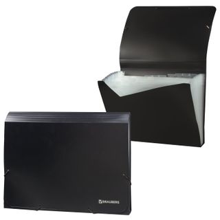 Folder on elastics BRAUBERG, A4, 13 pockets, plastic indexes, black, Russia