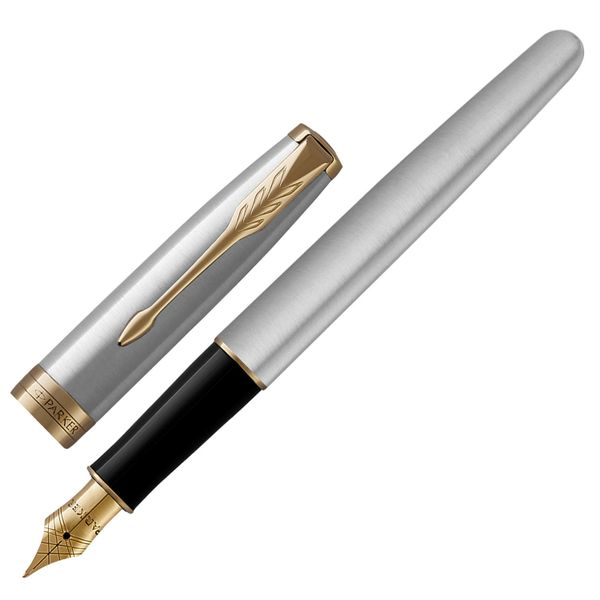Pen pen PARKER 'Core Sonnet Stainless Steel GT', body silver-plated details, black