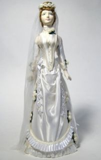 Doll gift the bride dress of the 19th century.