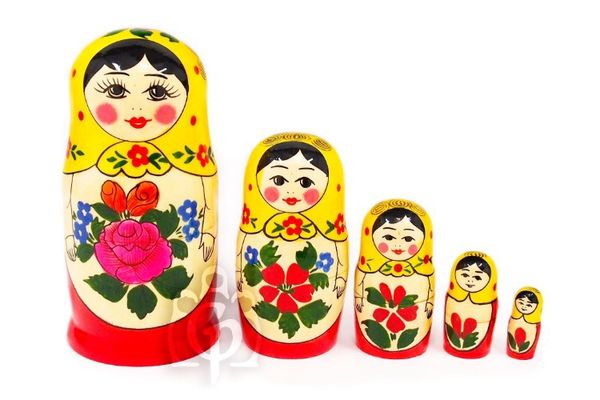 Alyonka - traditional Russian doll, 5 dolls (large size)