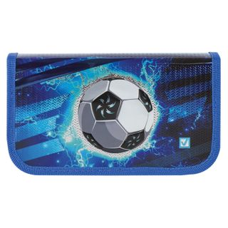 BRAUBERG pencil case, 2 compartments, metalized cardboard, convex, 19х11 cm, Football