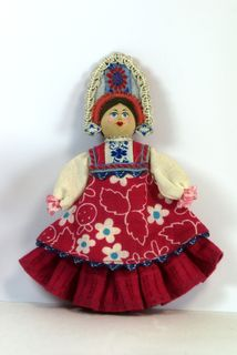 Doll-poteshka gift pendant. Nastya. Wood, textiles.