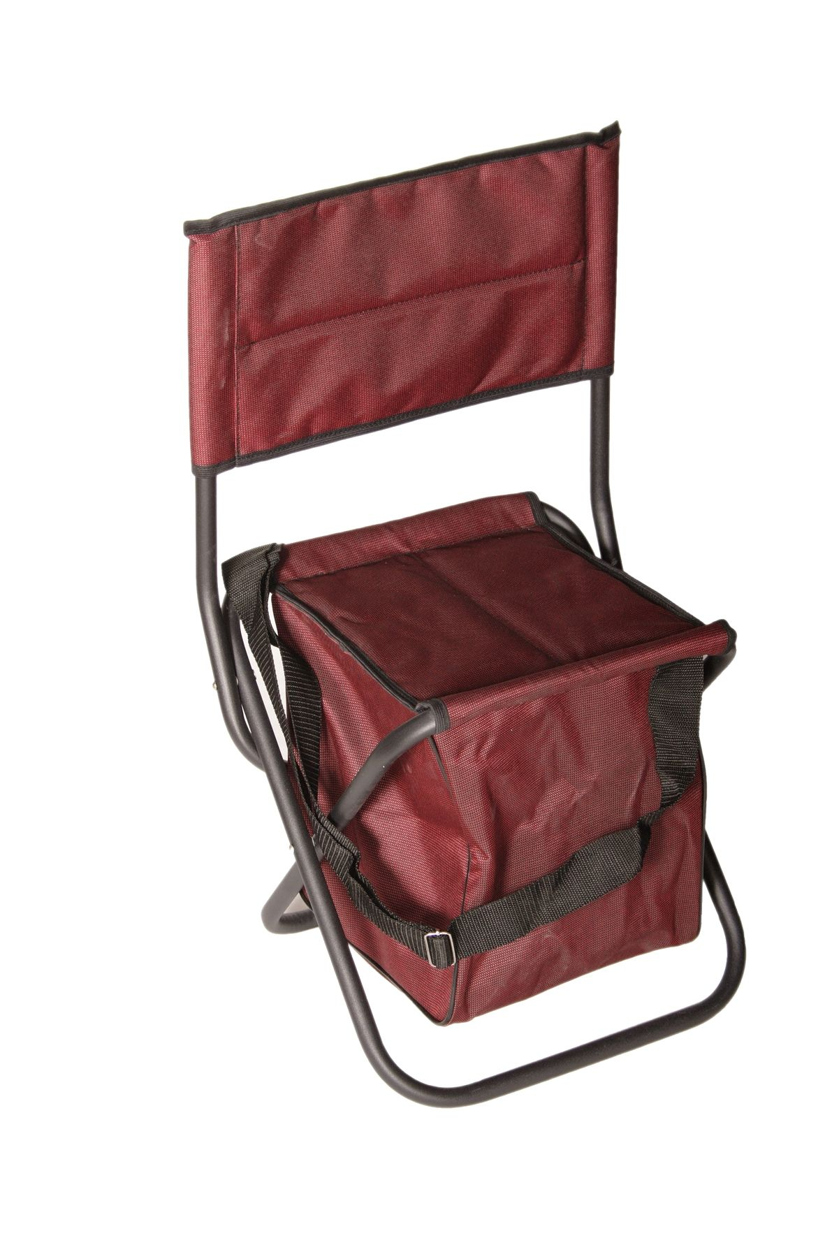 Tourist steel chair with backrest, legs closed; with bag