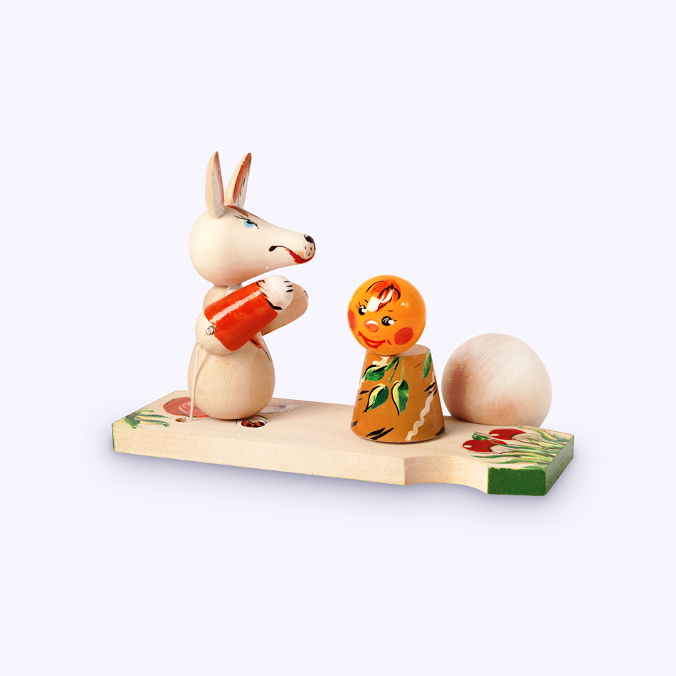"Bogorodsk toy / Wooden souvenir ""Fox and bun"""