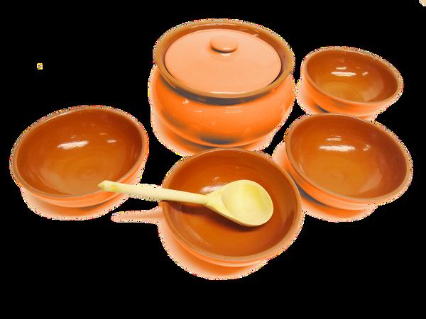 Vyatka ceramics / Tableware set (orange)