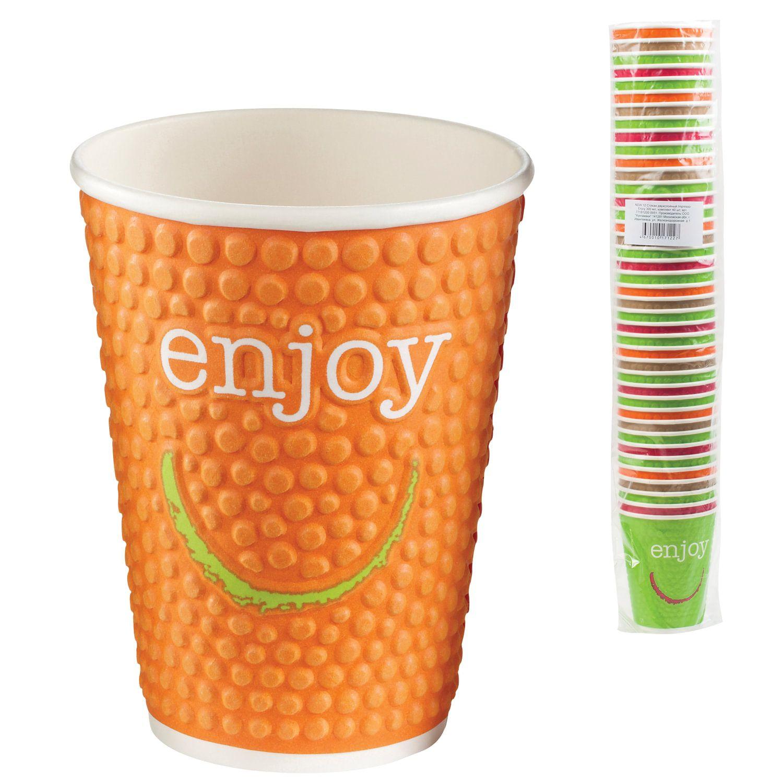"HUHTAMAKI / Disposable cups ""ENJOY"" 300 ml single-layer paper, color printing, cold / hot, SET 40 pcs."