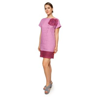 "Women's dress ""Watercolor"" purple with silk embroidery"