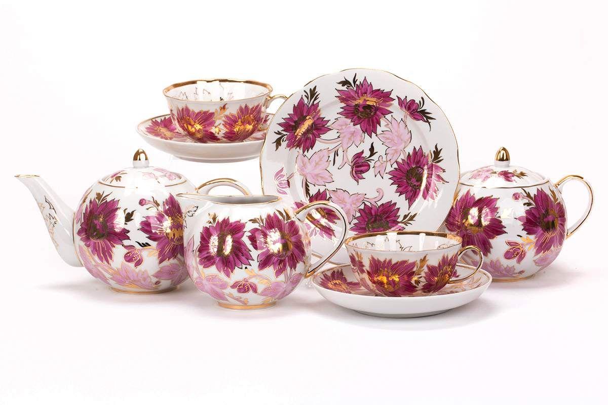 Dulevo porcelain / Tea set 21 pcs Tulip Tulips
