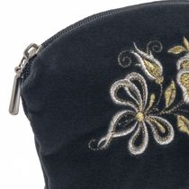 Velvet cosmetic bag 'Happiness' gray color with silver embroidery