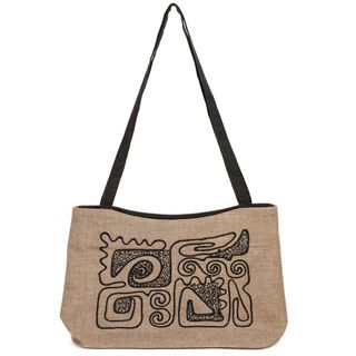 Linen bag Mirage brown color with silk embroidery