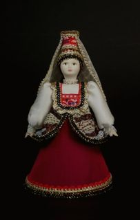 Doll gift porcelain. Tver lips. Russia. Girl's costume. 18-19 centuries.