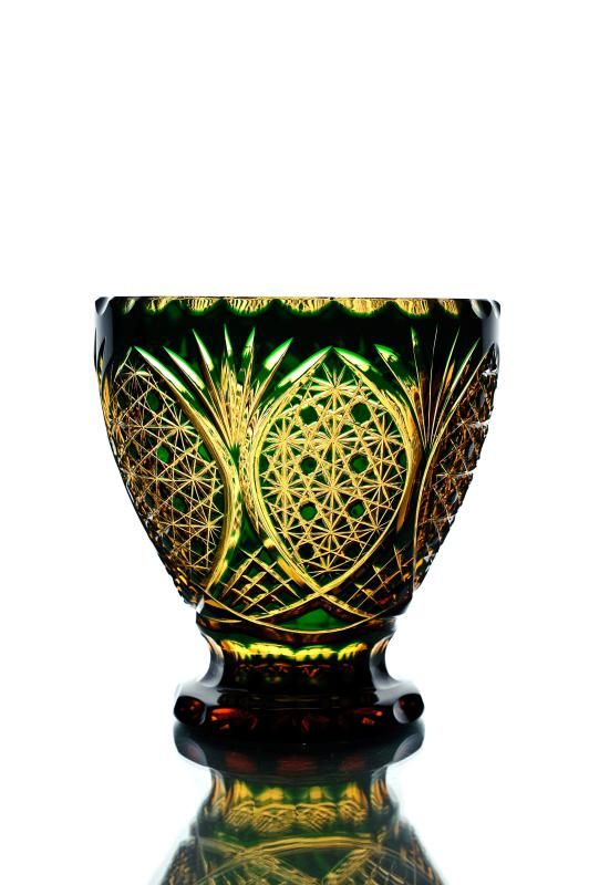 """Crystal vase for the table """"Blizzard"""" amber-green"""