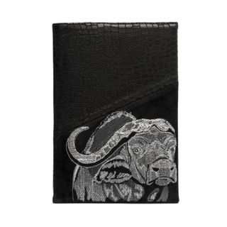 "The diary ""Safari Buffalo"" in black with silver embroidery"