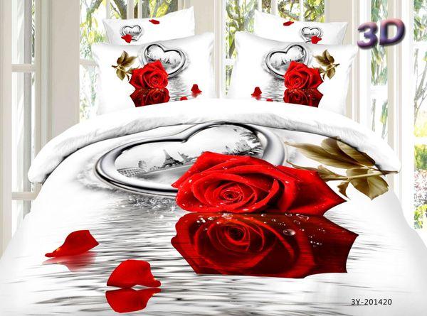 Satin bed linen 3D heart in Paris