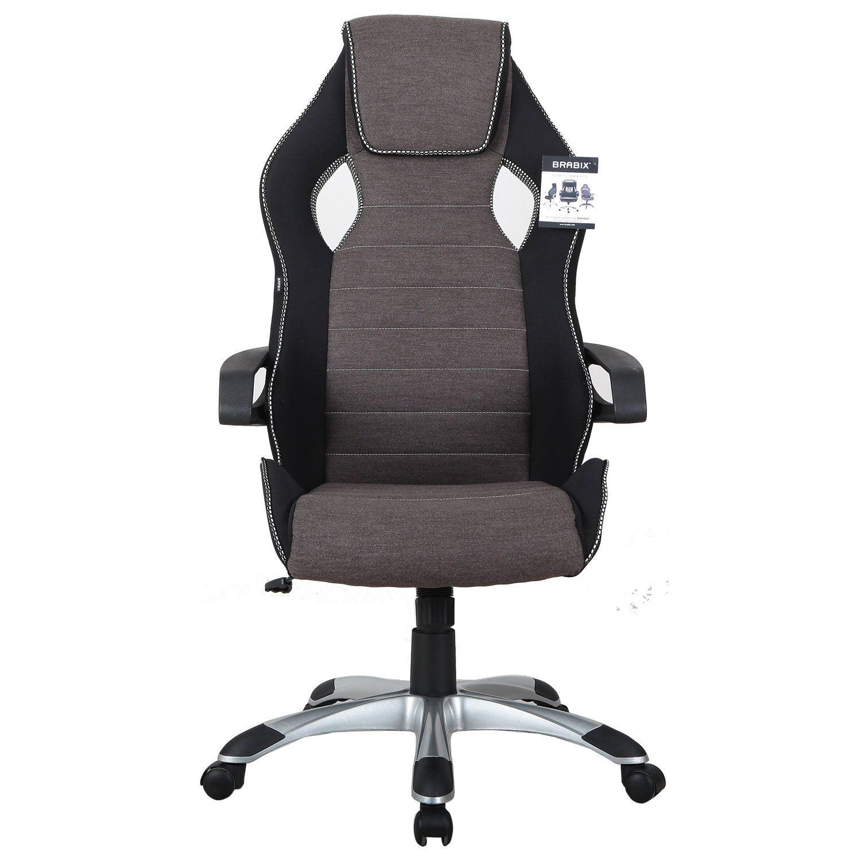 "Computer chair BRABIX ""Techno GM-002"", fabric, black / gray, white inserts"