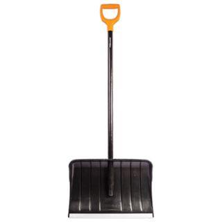 FISKARS / Plastic snow shovel, 53.5x36 cm, height 145 cm, aluminum edge, wooden handle